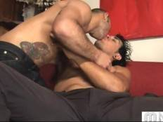 Good looking muscled friends are kissing and getting oral fun.